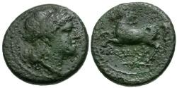 Ancient Coins - 235 BC - Roman Republic Æ Half Litra / Horse