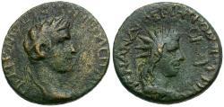 Ancient Coins - Tiberius. Lydia. Tripolis. Menandros Metrodorou Philokaisar magistrate Æ18 / Bust of Helios