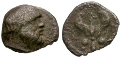 Ancient Coins - aVF/gF Sicily, Katane AR Litra / Silenus / Winged fulmen