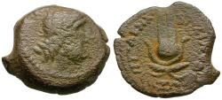 Ancient Coins - Ptolemy IX Soter II Lathyros (116-106 BC) Æ14 / Headdress of Isis