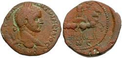 Ancient Coins - Elagabalus. Coele-Syria. Leucas on the Chrysoroas Æ26 / Helios in Spread Quadriga