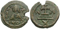 Ancient Coins - *Sear 566* Byzantine Empire. Maurice Tiberius (AD 582-602) Æ Decanummium