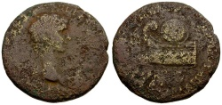 Ancient Coins - Britannicus.  Bithynia.  Nikomedia.  L. Mindius Balbus Æ25 / Prow and Shield