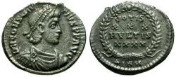 Ancient Coins - VF/VF Constantius II AR Siliqua / Votive Wreath
