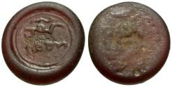 World Coins - Burji Mamluk.  Glass Jeton. dark rose. in the name of Muhammad b. al-'Awdi