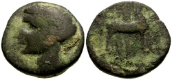 Ancient Coins - Barcids in Spain Roman Occupation of Carthago Nova Æ23 / Scipio Africanus?