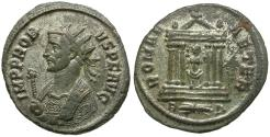 Ancient Coins - Probus (AD 276-282) Silvered Æ Antoninianus / Roma in Temple