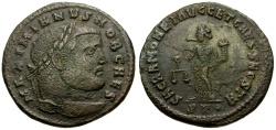 Ancient Coins - Galerius as Caesar Æ Follis / Sacra Moneta