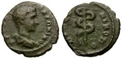 Ancient Coins - Diadumenian. Moesia Inferior. Nikopolis ad Istrum Æ15 / Serpent Staff