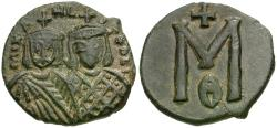 Ancient Coins - *Sear 1652* Byzantine Empire. Michael II the Amorian (AD 820-829) with Theophilus Æ Follis