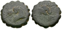 Ancient Coins - Seleukid Kings. Demetrios I Sotor (162-150 BC) Æ15 Serrate / Elephant