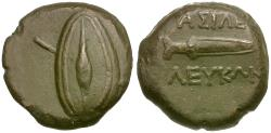 Ancient Coins - Bosporian Kings. Leukon II Æ17 / Shield and Spear