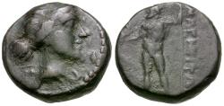 Ancient Coins - Thessaly. Magnetes Æ13 / Poseidon