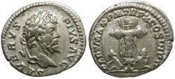 Ancient Coins - Septimius Severus AR Denarius / Trophy and Captives
