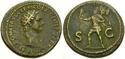 Ancient Coins - Domitian Æ Dupondius / Mars
