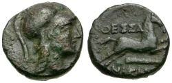 Ancient Coins - Macedon. Thessalonika Æ15 / Horse