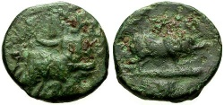 Ancient Coins - gF/gF+ Attica Eleusis Æ15 / Triptolemos / Pig