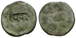 Ancient Coins - Tiberius.  Uncertain Host Coin Æ23 / Counterstamp