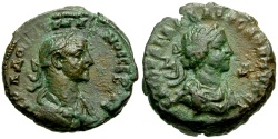 Ancient Coins - Vabalathus and Aurelian, Egypt Alexandria Billon Tetradrachm