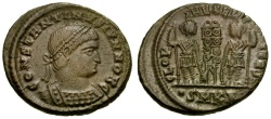Ancient Coins - Constantine II as Caesar Æ4 / Soldiers and Standards