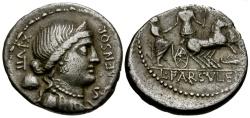 Ancient Coins - 76 BC - Roman Republic. L. Farsuleius Mensor AR Denarius / Roma assisting Citizen into Biga