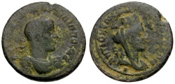 Ancient Coins - Philip I. Seleucis and Pieria. Antiochia ad Orontem Æ27 / Bust of Tyche