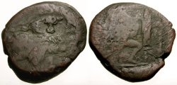 Ancient Coins - VG/VG Kings of Macedon Antigonos Gonatas Æ22 / Phokian Bucranion Countermark