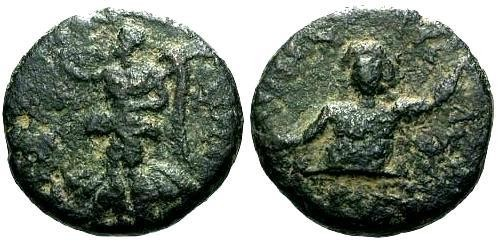 Ancient Coins - VF/VF Syria Balanea-Claudia Leucas Civic Issue AE16 / River god and Nike