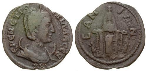 Ancient Coins - aVF/aVF Herennia Etruscilla Ionia Samos Æ29 / Cultus Statue of Hera