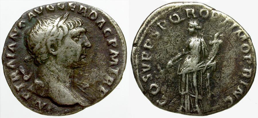 Ancient Coins - Trajan AR Denarius / Felicitas