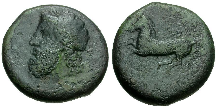 Ancient Coins - Sicily.  Syracuse.  Timoleon Æ Drachm or Dilitron / Zeus / Horse