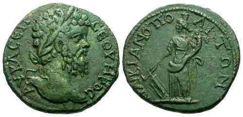 Ancient Coins - VF/VF Septimius Severus Moesia Inferior Markianopolis AE21 / Fortuna