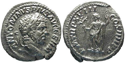 Ancient Coins - VF/VF Caracalla Denarius / Apollo