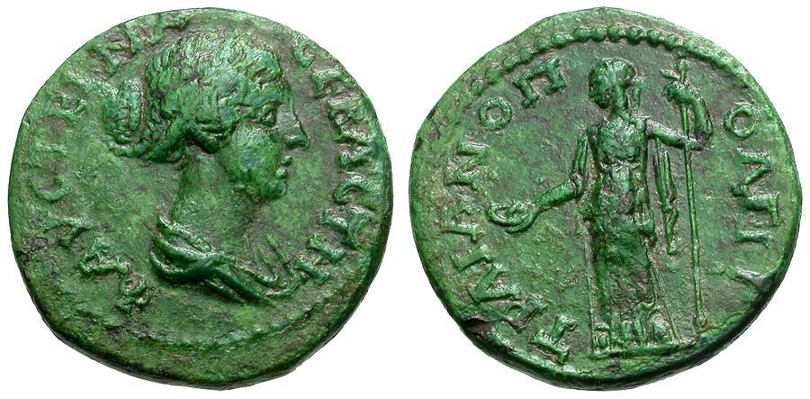Ancient Coins - Faustina II. Wife of Marcus Aurelius. Thrace. Traianopolis Æ21 / Hera