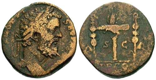 Ancient Coins - gF/gF Rare Septimius Severus Sestertius / Legionary Eagle