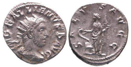 Ancient Coins - VF/VF Gallienus AR Antoninianus / Salus