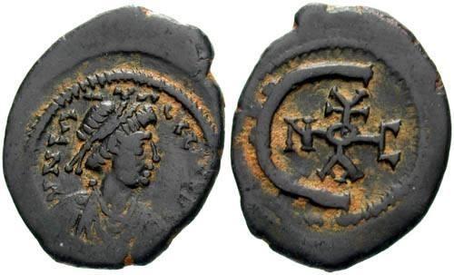 Ancient Coins - VF/gVF Justinian I AE 5 Nummi / Monogram