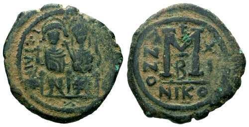 Ancient Coins - aVF/aVF Justin II Follis