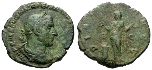 Ancient Coins - VF/gF Trebonianus Gallus AE Sestertius / Pietas