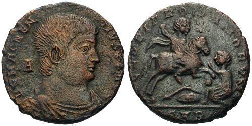 Ancient Coins - VF/EF Magnentius Follis / Magnentius on Horseback