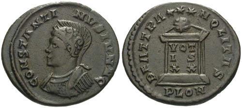 Ancient Coins - aVF/VF Constantine II as Caesar / London Helmeted bust left