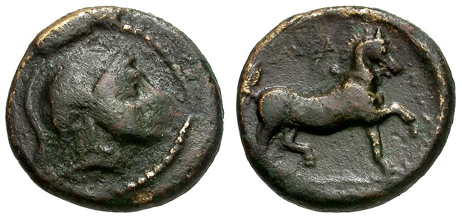 Ancient Coins - Thessaly.  Thessalian League Æ13 / Athena and Horse