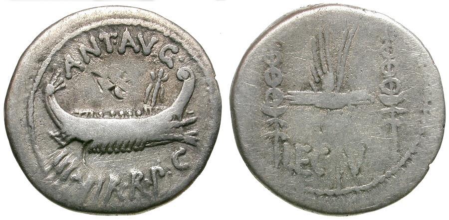 Ancient Coins - Imperatorial. Mark Antony (43-30 BC). Legionary AR Denarius / Legion V