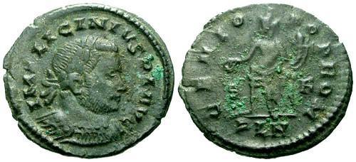 Ancient Coins - VF/VF Licinius AE Follis / London Genio