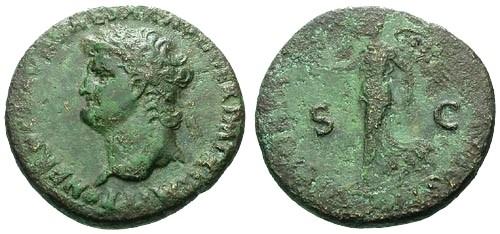 Ancient Coins - VF/gF+ Nero AE Dupondius / Victory