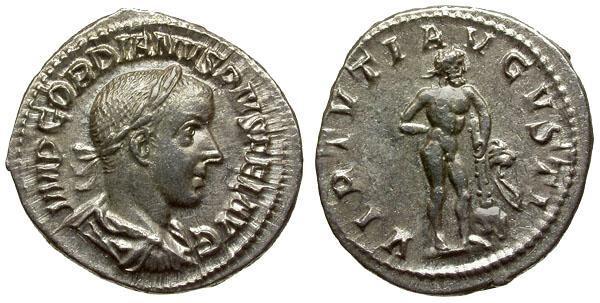 Ancient Coins - EF/EF Gordian III AR Denarius / Hercules