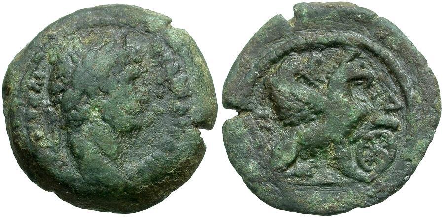 Ancient Coins - Hadrian. Egypt. Alexandria Æ Obol / Griffin
