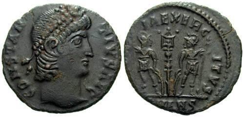 Ancient Coins - aXF AE4 of Constantius II / Two Soldiers