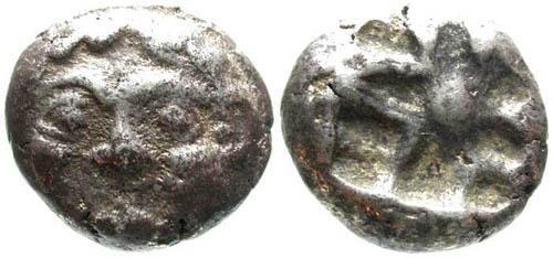 Ancient Coins - aVF/aVF AR 3/4 drachm of Parion, Mysia; Gorgon / Incuse