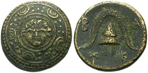 Ancient Coins - aVF/aVF Anonymous AE17 / Sheild with Gorgon